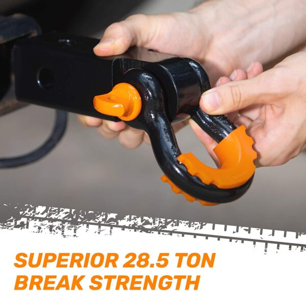 """2"""" Hitch Receiver + Black Non-Rust 3/4"""" D-Ring + 30' / 3"""" Tow Strap combo by RoofPax"""