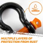 RoofPax Combo 3/4″ Coated D ring Shackles (2-Pack) + 30 ft. 3″ Wide Tow Strap (41,850 lb Break Strength) for Vehicle Recovery, Houling, Stump Removal for Jeeps & Trucks 7/8″ Screw Pin+Silicone Washers