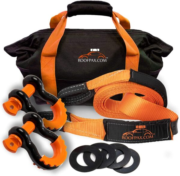 """RoofPax Combo 3/4"""" Coated D ring Shackles + 30 ft. 3"""" Wide Tow Strap"""