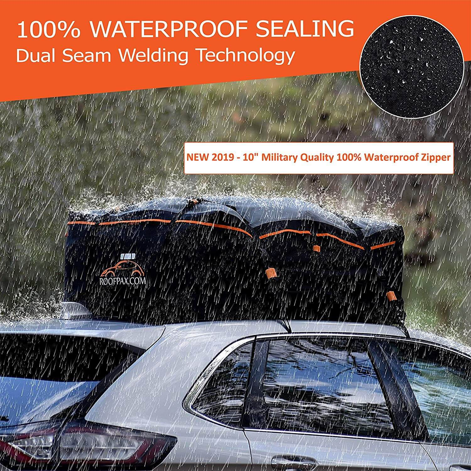 15 Cubic Feet Heavy Duty Bag 100/% Waterproof Excellent Military Quality Roof-Top Car Bag RoofPax Car Roof Bag /& Rooftop Cargo Carrier Fits All Cars with//Without Rack 4 Door Hooks Included