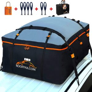 RoofPax Car Roof Bag & Rooftop Cargo Carrier. 19 Cubic Feet. 100% Waterproof Excellent Military Quality Car Top Carrier. Heavy Duty RoofBag. Fits All Vehicle With/Without Rack. 4+2 Door Hooks Included