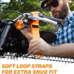 Ratchet Straps by RoofPax (2-Pack) | Heavy Duty Motorcycle Tie Downs Kit | 5,208 Break Strength | 1.6″ x 8′ Cargo Tiedowns for Heavy Loads | Padded Handles & Coated Chromoly | S Hooks w/ 2 Soft Loops