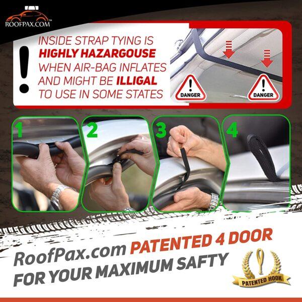 RoofPax Cargo Tie Down Hook Straps 100% Waterproof