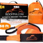 RoofPax Tow Strap 3″ x 30 ft. Off Road Recovery Rope | 30,180 lb Break Strength Capacity | Heavy Duty Winch Strap with Triple Reinforced End Loops | Essential Recovery Kit for Getting Off-Road