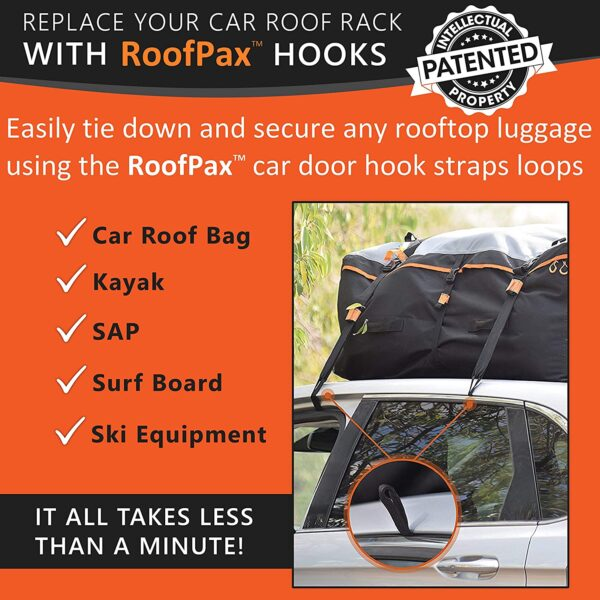 RoofPax 6 Rooftop Cargo Tie Down Any Car Top Luggage